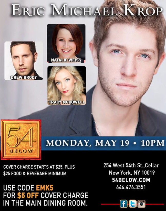 Singing with Eric Michael Krop at 54 Below – May 19, 2014